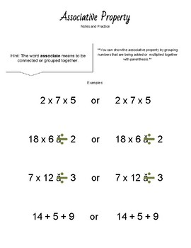 Associative and Commutative Property Notes