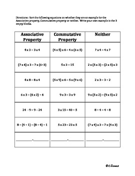 associative property of addition workshee koogra properties ...