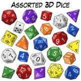 Assorted 3D Dice Clip Art