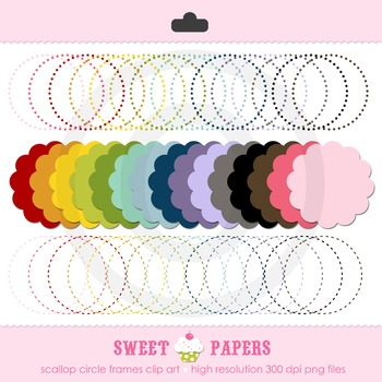 Assorted Circles Dashed Dotted Scallop Digital Clip Art Set - by Sweet Papers