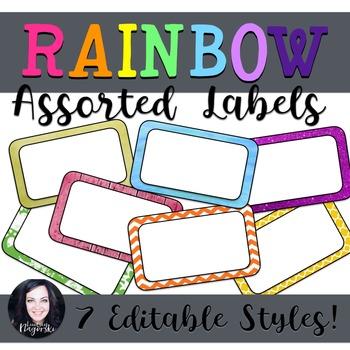 Assorted Editable Rainbow Labels