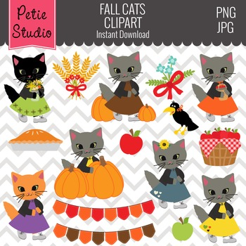 Fall Harvest Clipart // Fall Cats Clipart // Autumn Cats C