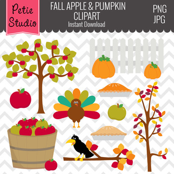 Fall Harvest Clipart with Apples and Pumpkin, Commercial Use Clipart - Fall100