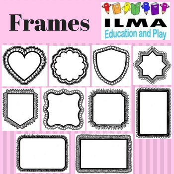 Assorted Frames for name tags, gift tags, cards, worksheets, colouring sheets