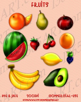 Assorted Fruits Clipart 11 Pack Digital Graphics