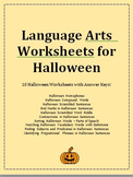 Language Arts Worksheets for Halloween - vocabulary, grammar, and more!