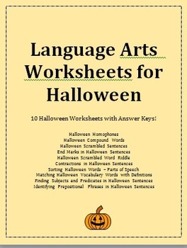 Language Arts Worksheets for Halloween - vocabulary, gramm