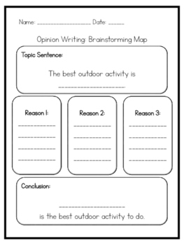 Assorted Opinion Writing: Brainstorming Maps