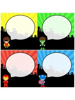 Assorted Super Hero Theme Labels
