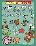 Assorted clip art, smilies set 1