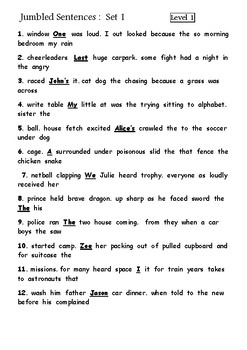 60 x Assorted jumbled sentences for middle to upper primary
