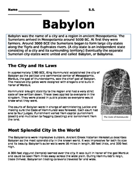 Assyria and Babylon Paired Text (New Social Studies Framew