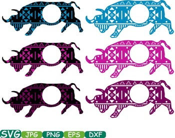 Aztec Bull Safari Monogram Circle Cutting Silhouette school Clipart zoo -252s