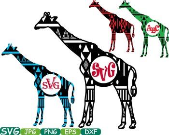 Aztec Giraffe Safari Monogram Circle Cutting Silhouette school Clipart zoo -250s