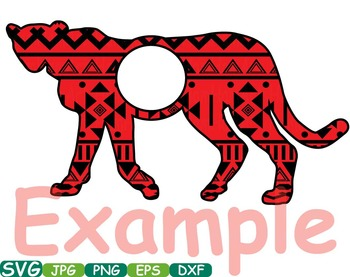 Aztec Leopard Safari Monogram Circle Cutting zoo Silhouette school Clipart -254s