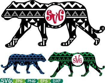 Aztec Lion Safari Monogram Circle Cutting Silhouette school Clipart zoo -253S
