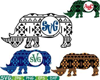 Aztec Rhino Safari Monogram Circle Cutting Silhouette school Clipart zoo -251s