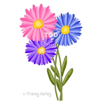 Aster Flowers clip art Printable Tracey Gurley Designs