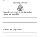 Asteroid Worksheet & Answer Key