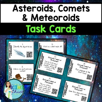 Asteroids, Comets & Meteoroids Task Cards - with or without QR codes