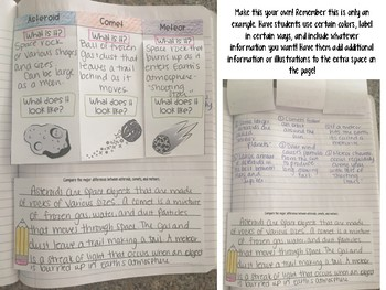 Asteroids Comets Meteors Reading Comprehension Interactive Notebook