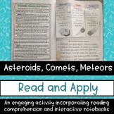 Asteroids Comets Meteors Reading Comprehension Interactive