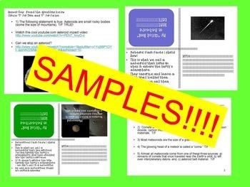Asteroids, Comets, Meteors/Meteoroids & Meteorites SPED/ESL Quiz