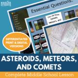 Asteroids Meteors Comets Complete 5E Lesson Plan