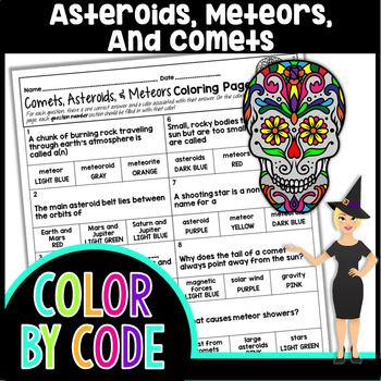 Asteroids, Meteors, & Comets Coloring Page