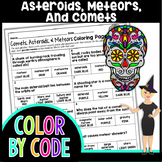 ASTEROIDS, METEORS, & COMETS SCIENCE COLOR BY NUMBER, QUIZ