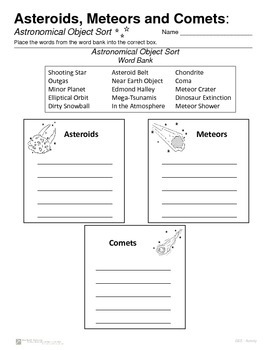 Asteroids - Meteors - Comets - Introductions and Activities