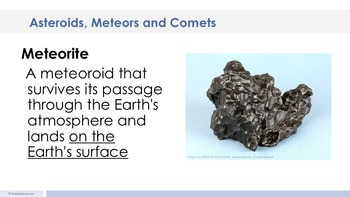 Asteroids Meteors Comets - Supplemental Lesson - No Lab