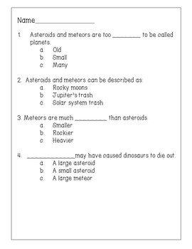 Asteroids and Meteors Reading Comprehension Activity