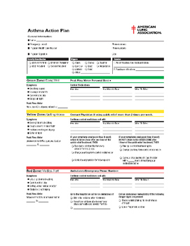 Asthma Letter for Parents  with action plan PDF