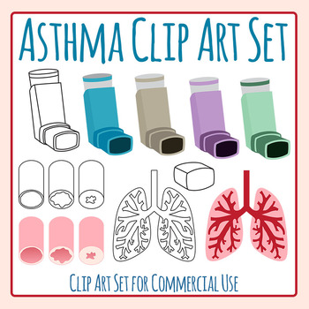 Asthma and Asthma Inhalers Clip Art Set for Commercial Use