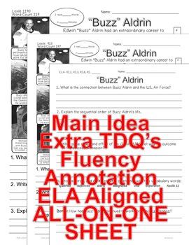 Astronaut Buzz Aldrin CLOSE READING 5 LEVEL PASSAGES Main Idea Fluency Check TDQ