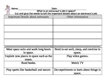 Astronaut Cut and Glue Worksheet Important Unimportant Details