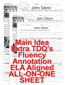 Astronaut John Glenn CLOSE READING 5 LEVEL PASSAGES Main Idea Fluency Check TDQs