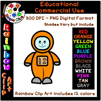 Astronaut / Space  - Rainbow Clipart - 12 Colors - Commercial Use {Simple Clips}