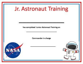 Training Certificate | Astronaut Space Training Certificate By Michelle S Creations Tpt