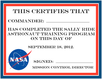 Astronaut Training Certification/Sally Ride