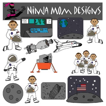 Astronaut and Lunar Landing Clip Art in Color and Black Line