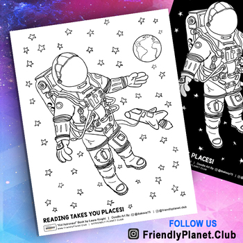 Astronaut In Outer Space Coloring Pages By Friendly Planet Club