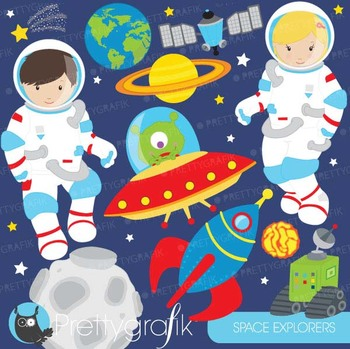 Astronaut in space clipart commercial use, vector graphics - CL579