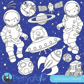 Astronaut space stamps commercial use, vector graphics, images - DS579