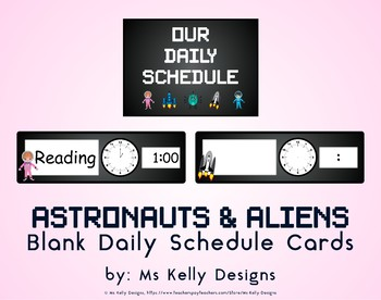 Astronauts & Aliens Blank Daily Schedule Cards