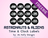 Astronauts & Aliens Time and Clock Labels