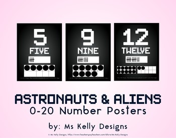 Astronauts and Aliens 0-20 Number Posters