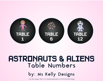 Astronauts and Aliens 1-12 Table Numbers