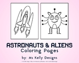 Astronauts and Aliens 10 Coloring Pages Set
